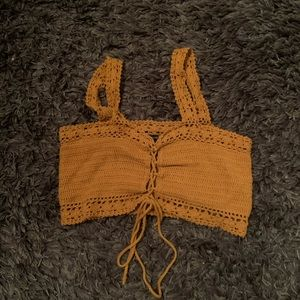 Knitted Yellow/Gold Crop Top - Size Small